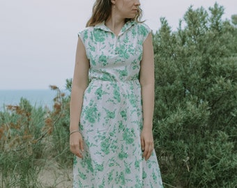 Linen floral dress vintage white green summer clothing printed minimalist sun elastic waist sleeveless L/XL