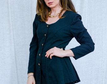 LA Belle black dress vintage coordinates 80s top and skirt set long sleeves XXL/XXXL
