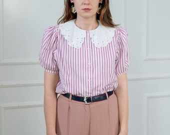 Puffy sleeve shirt embroidered collar striped top white pink blouse retro women french minimalism L Large