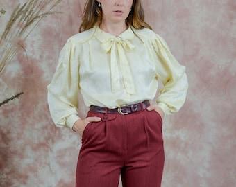 Silk shirt yellow edwardian blouse bow collared puffy long sleeve vintage XXL/XXXL