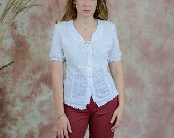 White blouse vintage short sleeve mesh shirt lace women hippie minimalism M/L