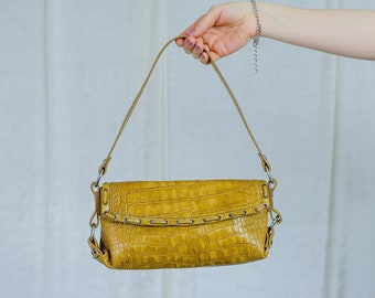 Mustard crocodile skin handbag vintage faux leather bag yellow