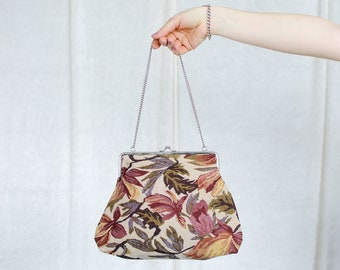Retro bag vintage purse handbag carpet floral pattern silver chain