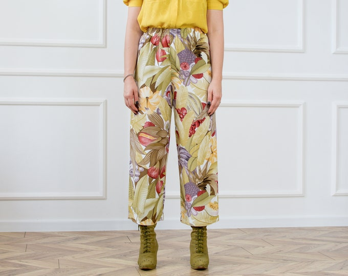Featured listing image: Printed pants vintage floral rainbow super high waist relaxed fit trousers vintage viscose M/L