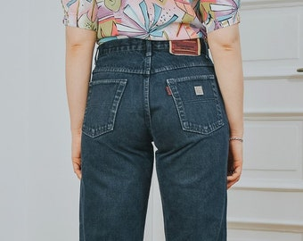 25763f09aa8 Yves Saint Laurent jeans Vintage 80's denim pants YSL Mom navy blue High  waist straight fit leg hipster button fly W32 L Large