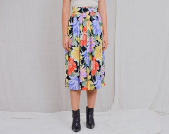 Floral skirt Vintage 80's rainbow printed painting flowers pleated multi colour viscose M Medium