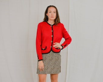 St. Michael Marks & Spencer Red blazer Vintage 80's gold buttons padded shoulders jacket retro L/XL