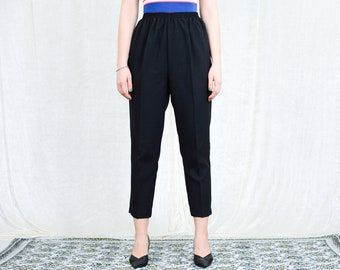 Black pleated pants cigarillos vintage super high waisted trousers elegant tapered leg mod french minimalism L/XL