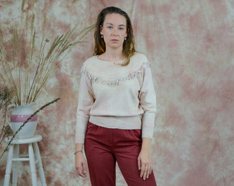 Tie dye sweater vintage beige pullover pompons pullover wool vintage L Large