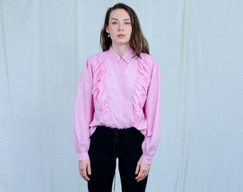 Pink shirt edwardian vintage blouse french top ruffle long sleeve retro XL/XXL