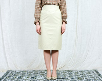 Beige leather skirt vintage The Old Mill pencil cream high waist S/M