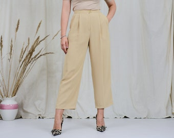 Super high waist pants JAEGER cream wide leg relaxed fit pleated trousers ribbed vintage 80s S/M