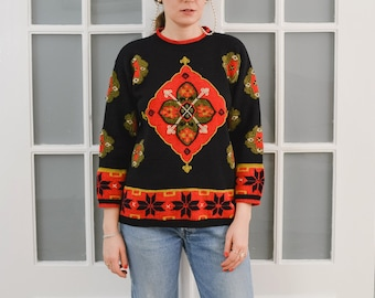 RENE DERHY Paris sweater ethnic pullover Vintage 80's retro wool black red embroidered Wool patterned embellished S Small
