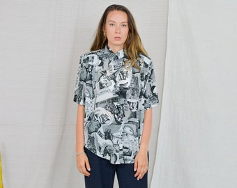 Printed shirt Vintage 80's women blouse gray black retro abstract pattern pleated short sleeve button up down XXL/XXXL