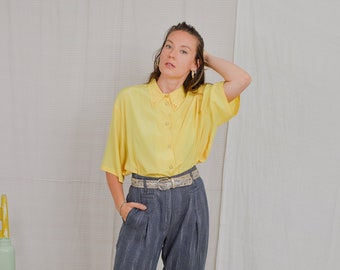 Yellow shirt Vintage 80's blouse lace collar top short sleeve 5XL/6XL