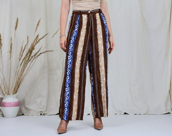 Ethnic pants vintage printed wide leg super high waist relaxed fit trousers vintage viscose XXL