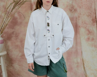 White denim shirt vintage 90s collared long sleeve embroidered blouse XXXL
