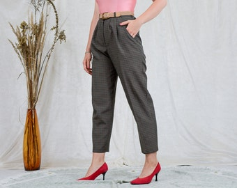 Checkered pants vintage bronze super high waist pleated cigarillos trousers elegant tapered leg XL