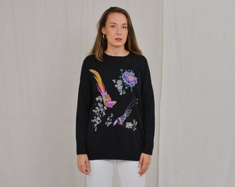 Embroidered sweater vintage 80's exotic birds black pullover floral clothing retro L Large