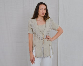 PA Fashion USA vintage top embroidered shirt beige blouse short sleeve linen 80's retro women blouse tied waist button up down L Large