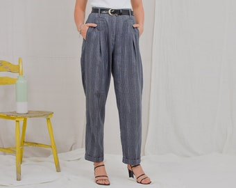 Emphasis pants checkered trousers gray wool Vintage 90's Super high Waisted elegant pleated mod french minimalism L Large