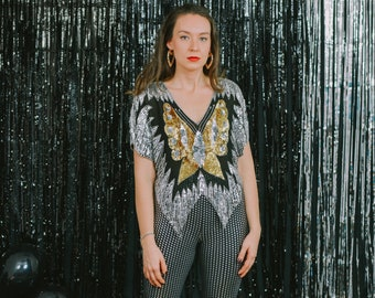 Butterfly top 80s top disco vintage sequins blouse metallic silver gold black party shirt women padded sleeve puffy shoulders L Large