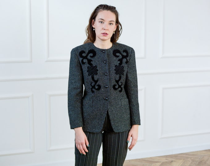 Featured listing image: Windsmoor gray wool silk blazer retro jacket women padded shoulders vintage L Large