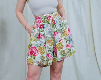 Floral shorts super high waist printed vintage hippie woman summer pants pleated relaxed fit S/M