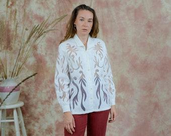 White sheer shirt linen vintage mesh long sleeve blouse rare flames pattern M/L