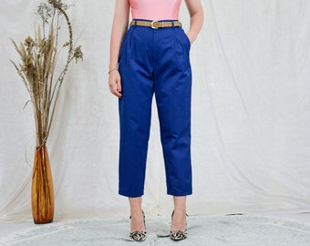 Blue pants high waist pleated trousers cigarillos Vintage 90s tapered leg elastic waist XL