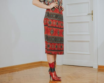 Aztec skirt CHU Vintage wrap geometric pattern red belted super high waist ethnic S/M