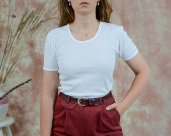 White 80s tshirt vintage cotton ribbed short sleeve L Large