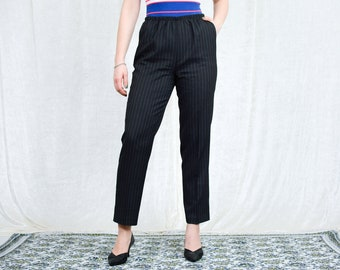 Striped pants pleated gray trousers cigarillos vintage high waisted elegant tapered leg mod french minimalism L/XL
