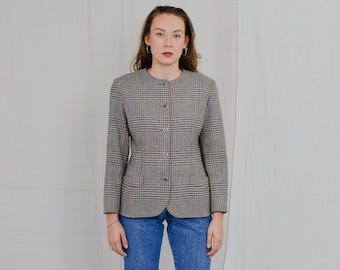 Topsi wool blazer gray elegant jacket tweed vintage 80's women formal event decorative marine buttons minimalist buttons M/L