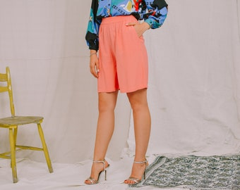 Salmon shorts vintage 90's pink summer pants plaid high waist pockets Viscose women relaxed fit S/M