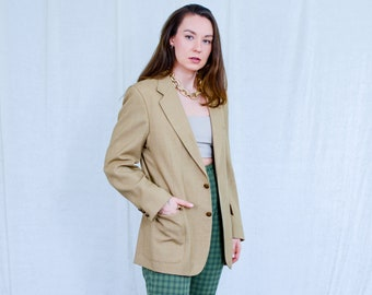 Beige blazer vintage jacket 80's Giuseppe Rosoto minimalist tail coat retro padded shoulders L Large