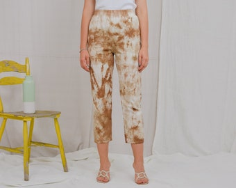 Tie dyed capri pants Cotton trousers camouflage high Waisted Vintage 90's beige elastic waist M Medium