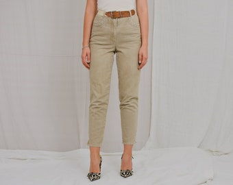 John Baner jeans W28 L28 beige high waist pants tapered leg cream Vintage 90's trousers french minimalism rivets M Medium