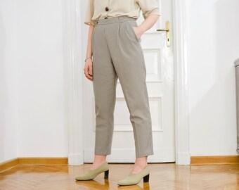 Houndstooth pants Vintage 80's trousers mod super high waist beige straight fit leg elastic waist L/XL