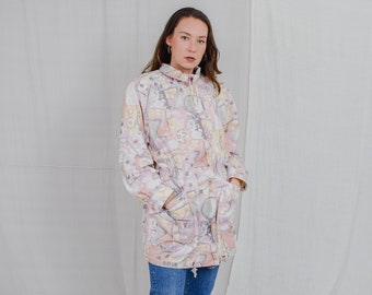 Printed jacket Vintage windbreaker 80's caot multi colour tied waist pink spring autumn women oversized L Large