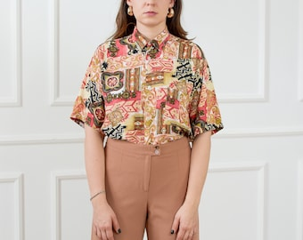 Printed shirt vintage 80s boho blouse short sleeve retro abstract pattern top button up down L/XL