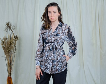 Tied shirt vintage 80s animal print blouse printed top leopard long sleeve M/L