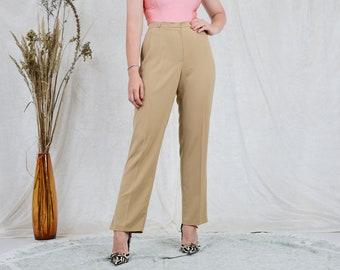 Beige pants women straight leg caramel vintage elegant trousers mod french minimalism L/XL