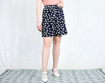 Dotted shorts W27 vintage yacht blue nautical summer pants plaid high waist women relaxed fit S Small