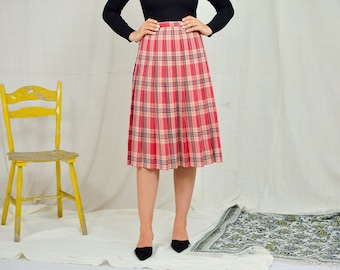 Preated skirt Tartan Vintage 90s super high waist scottish red Checkered classic woman lined S/M