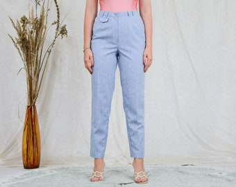Light blue pants W30 L29 high waist trousers cigarillos vintage 90s tapered leg L Large