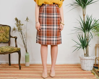 Checkered skirt Vintage 70's tartan patterned high waist caramel S Small