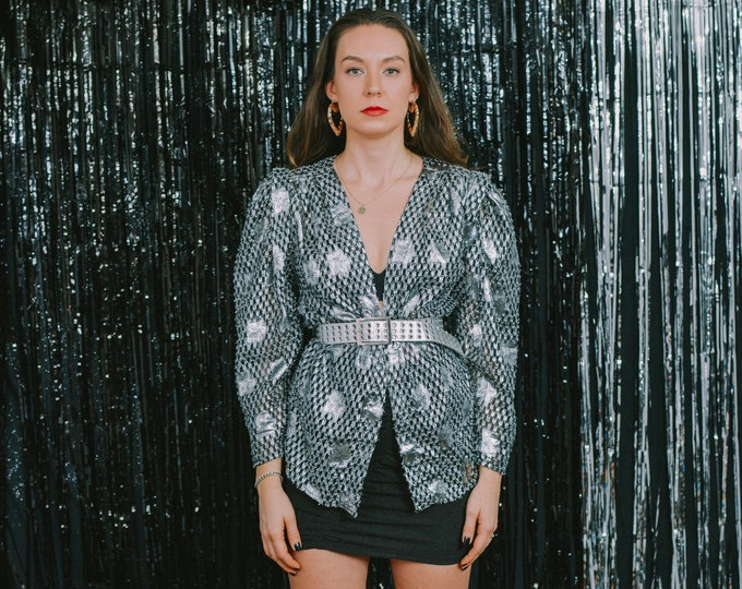 Featured listing image: Silver blazer party jacket vintage 80s metallic evening puffy sleeve women oversized L/XL