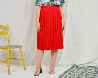 Red skirt pleated Vintage 90's button up women L/XL