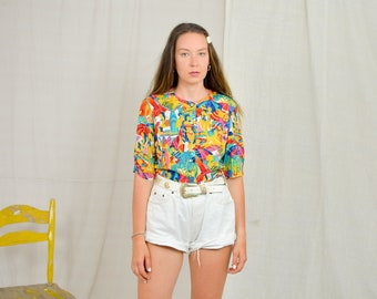 CLUB 15 Summer shirt Retro 80's Hawaiian top short sleeve surfers printed women blouse button up down viscose M Medium